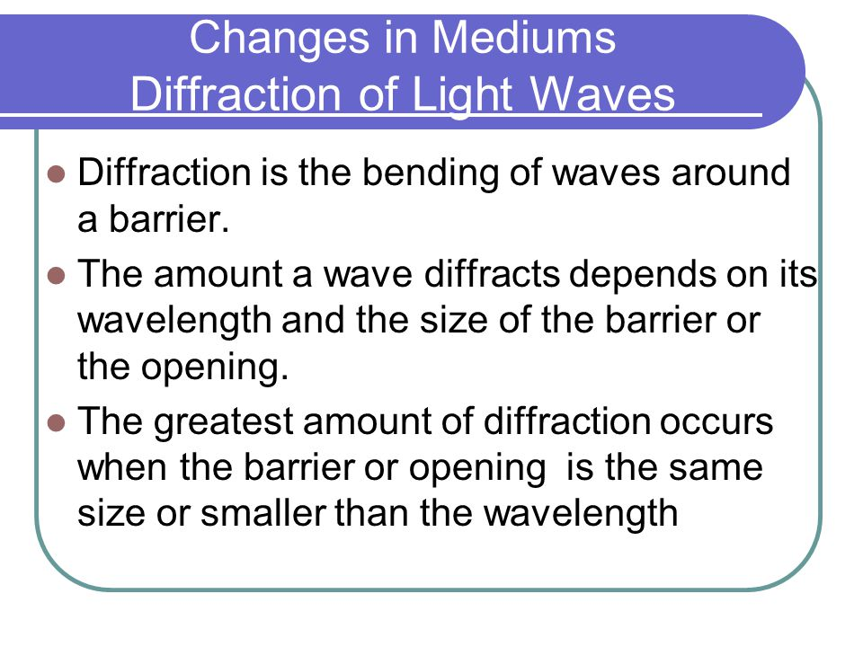 Changes in Mediums Diffraction of Light Waves