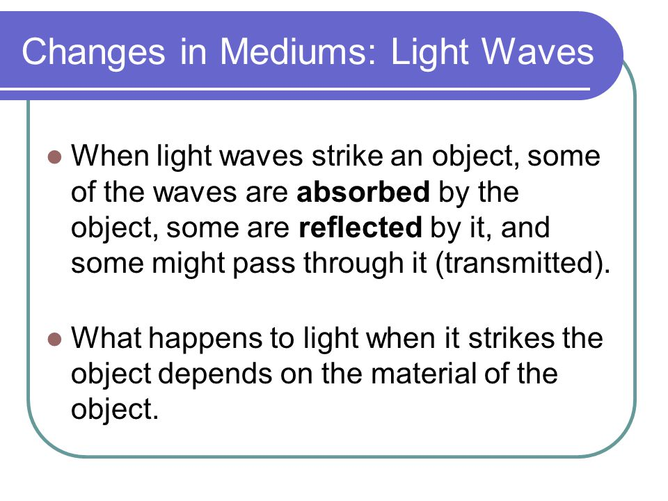 Changes in Mediums: Light Waves
