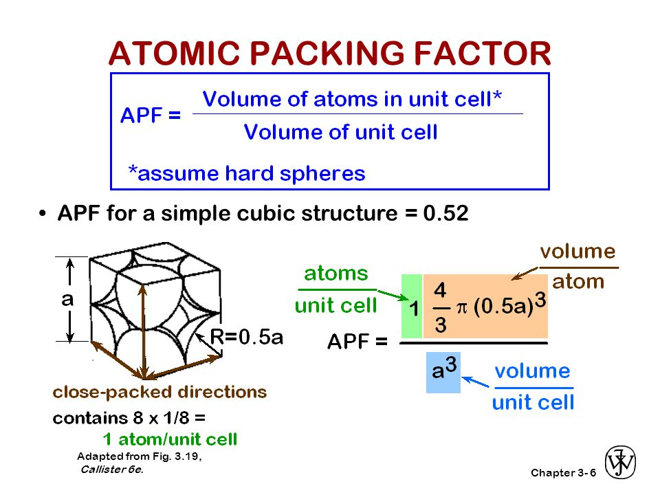 ATOMIC PACKING FACTOR • APF for a simple cubic structure = 0.52