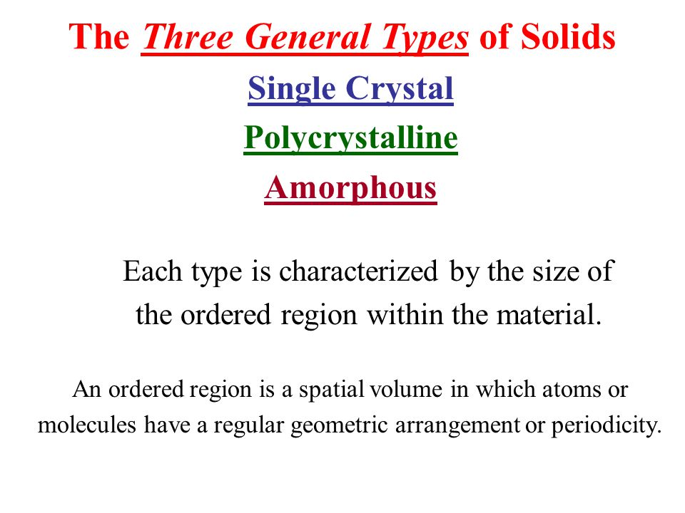 The Three General Types of Solids