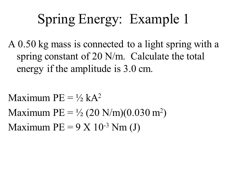 Spring Energy: Example 1