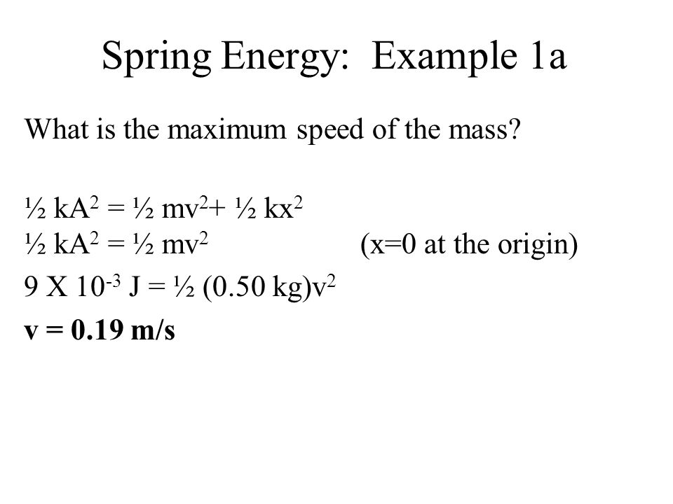 Spring Energy: Example 1a