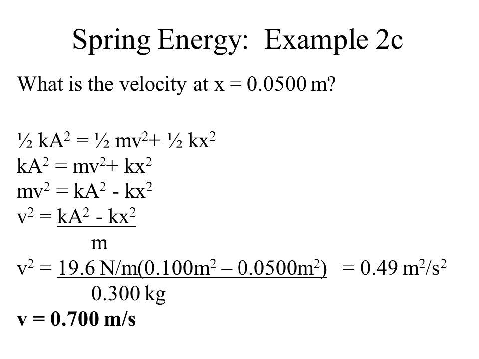 Spring Energy: Example 2c