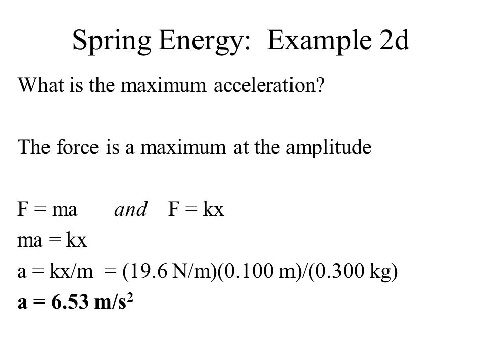 Spring Energy: Example 2d