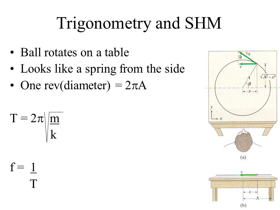 Trigonometry and SHM Ball rotates on a table