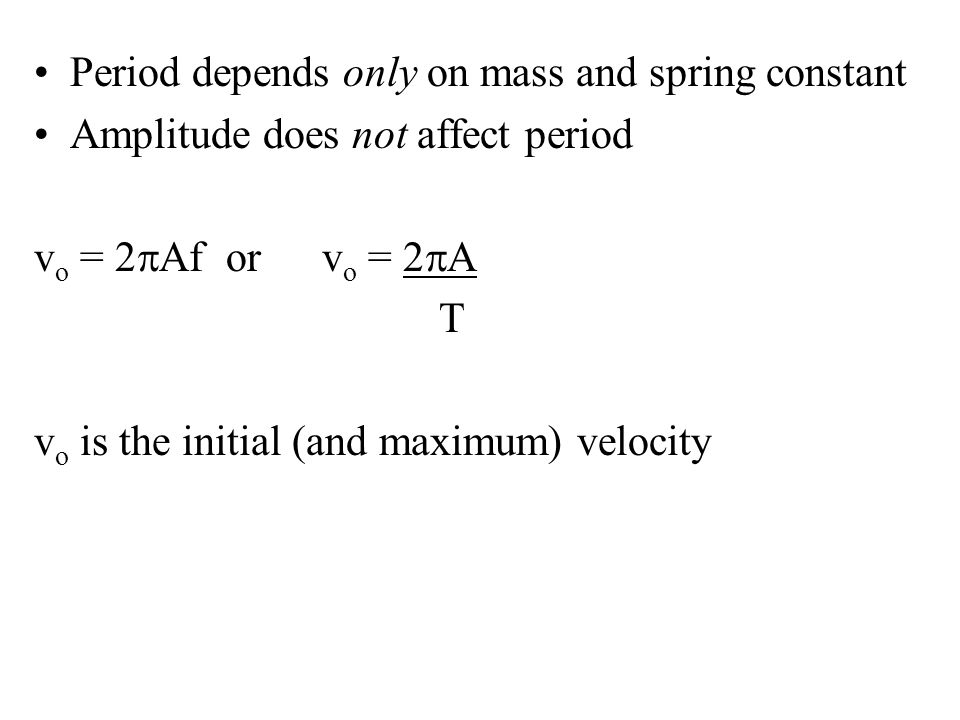 Period depends only on mass and spring constant
