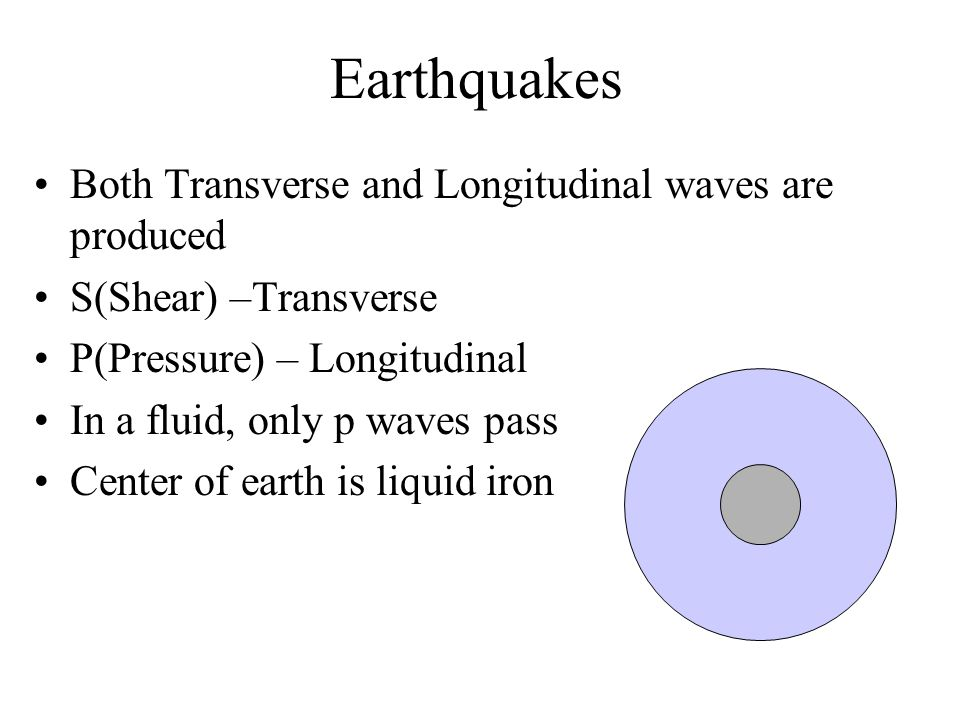 Earthquakes Both Transverse and Longitudinal waves are produced