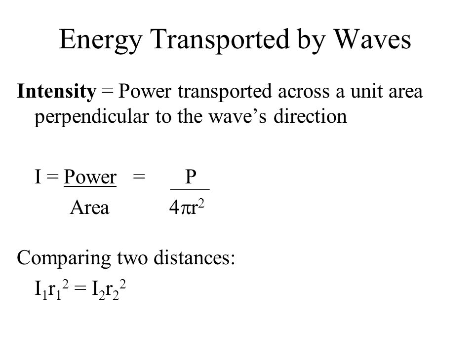 Energy Transported by Waves