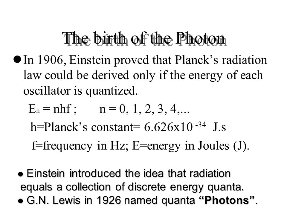 The birth of the Photon In 1906, Einstein proved that Planck's radiation law could be derived only if the energy of each oscillator is quantized.