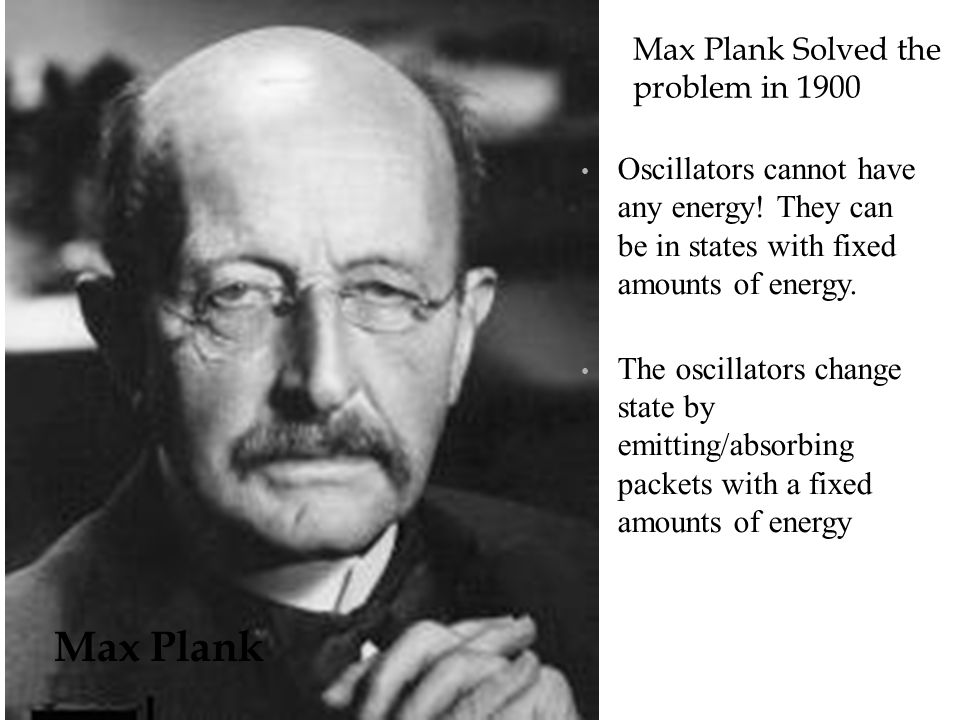 Max Plank Max Plank Solved the problem in 1900