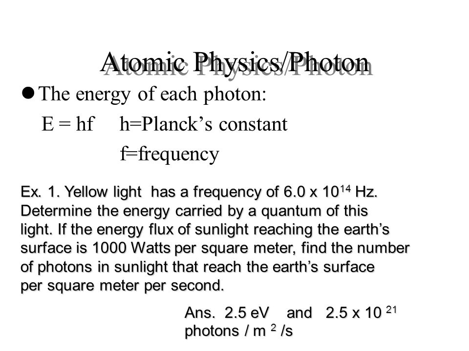 Atomic Physics/Photon
