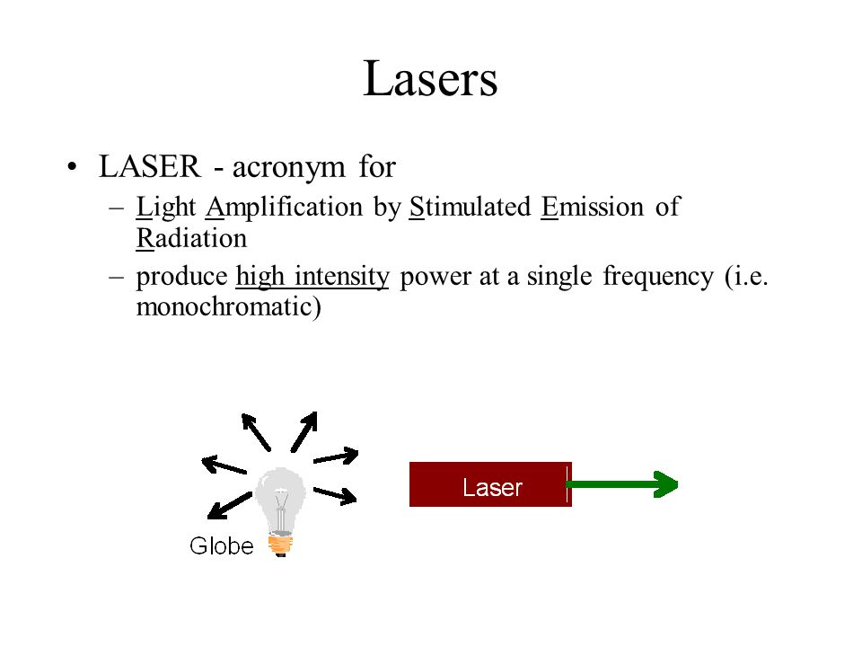 Lasers LASER - acronym for