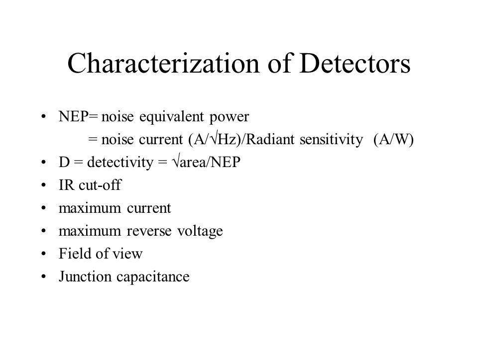 Characterization of Detectors