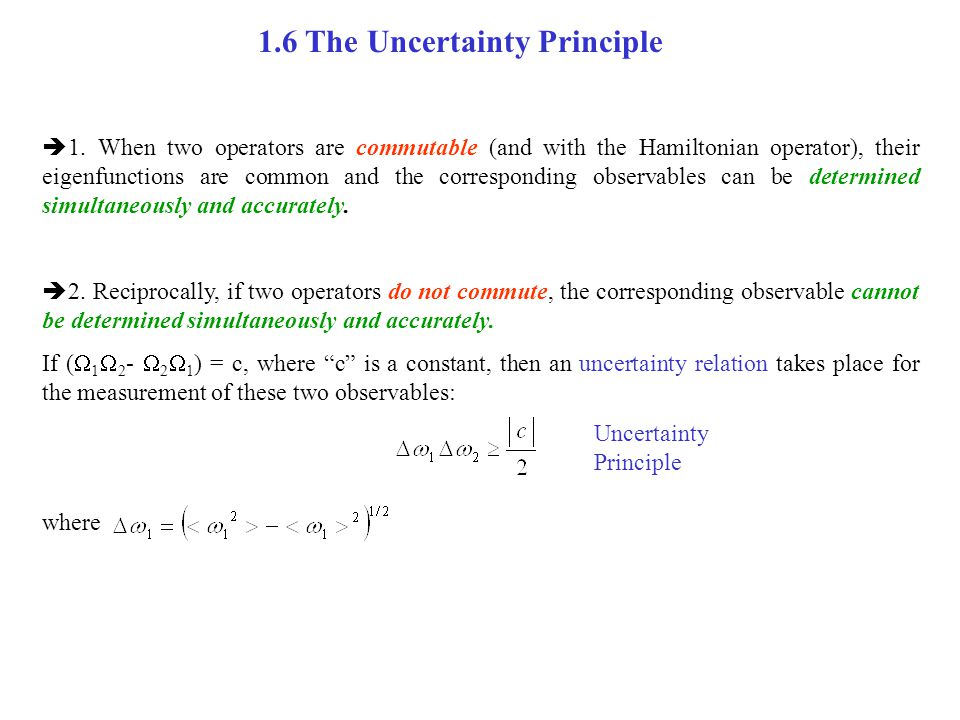 1.6 The Uncertainty Principle
