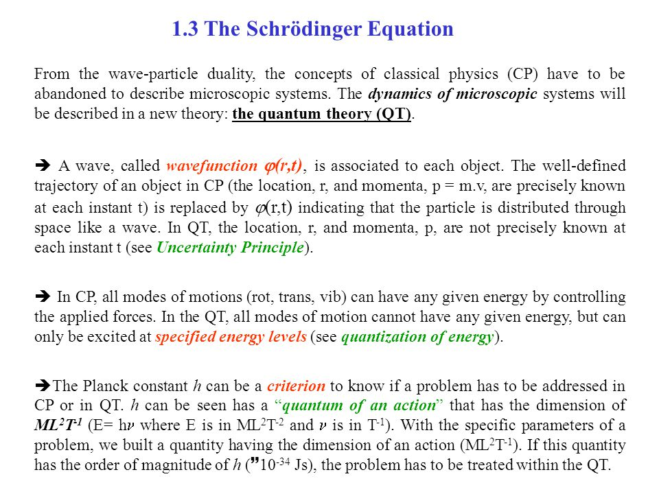 1.3 The Schrödinger Equation