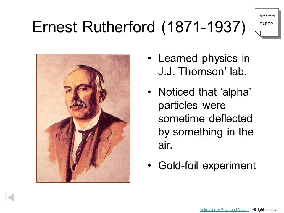 Ernest Rutherford ( ) Learned physics in J.J. Thomson' lab.