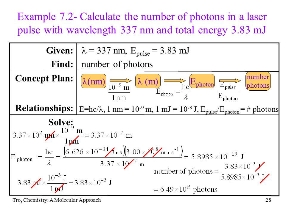 Example 7.2- Calculate the number of photons in a laser pulse with wavelength 337 nm and total energy 3.83 mJ