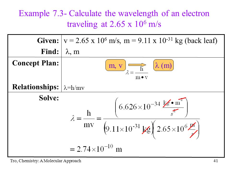 Example 7. 3- Calculate the wavelength of an electron traveling at 2