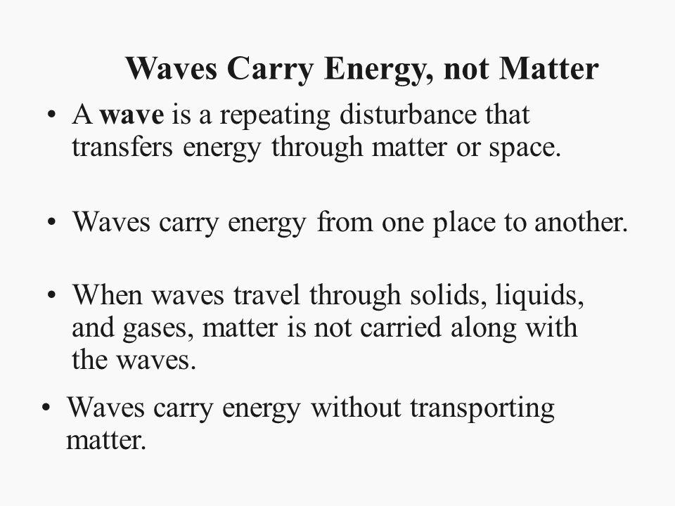 Waves Carry Energy, not Matter
