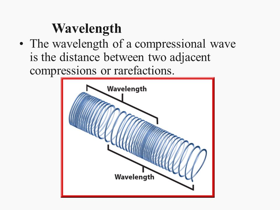Wavelength The wavelength of a compressional wave is the distance between two adjacent compressions or rarefactions.