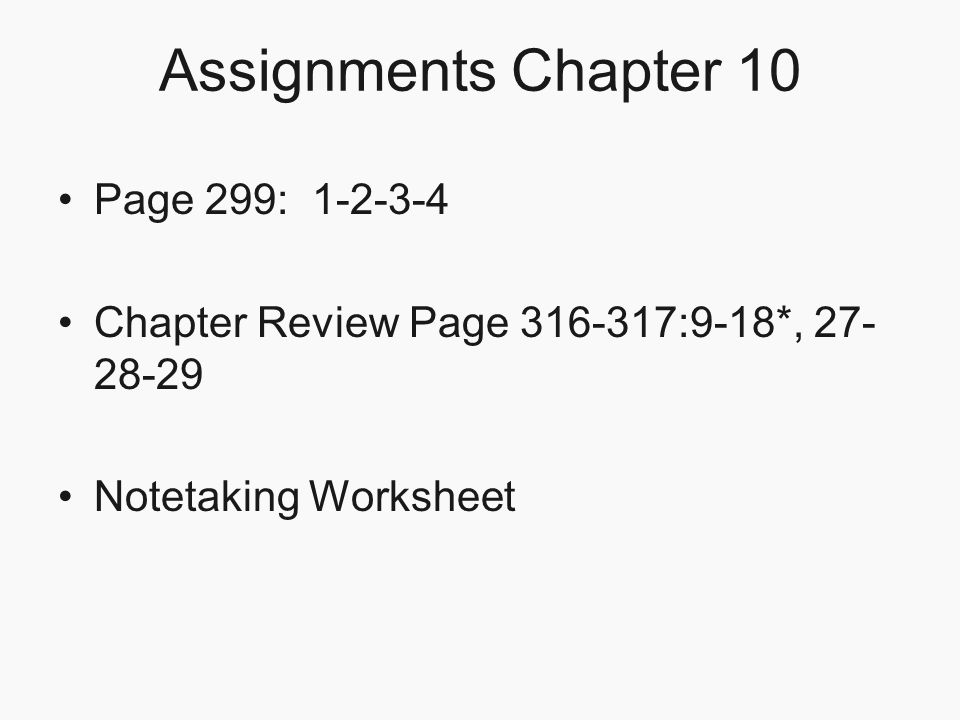 Assignments Chapter 10 Page 299: 1-2-3-4
