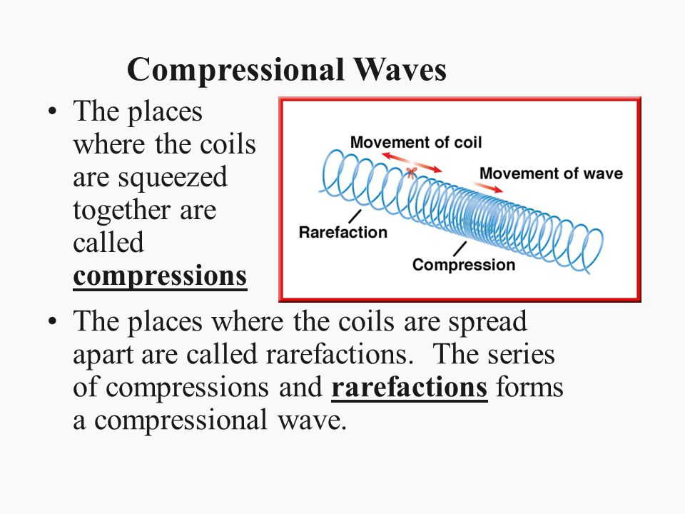 Compressional Waves The places where the coils are squeezed together are called compressions.