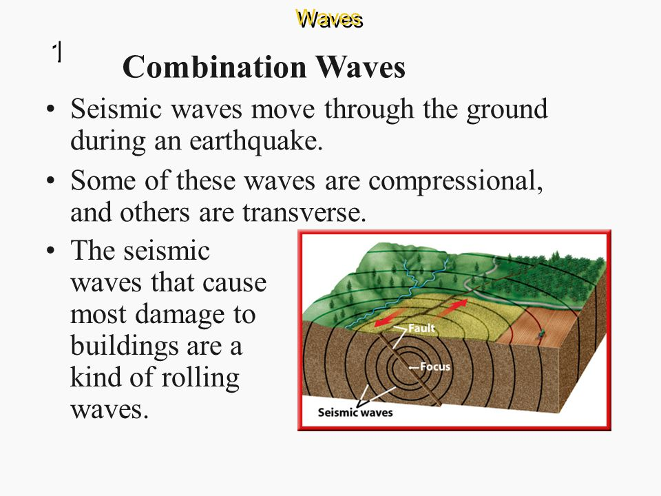 Waves 1. Combination Waves. Seismic waves move through the ground during an earthquake.