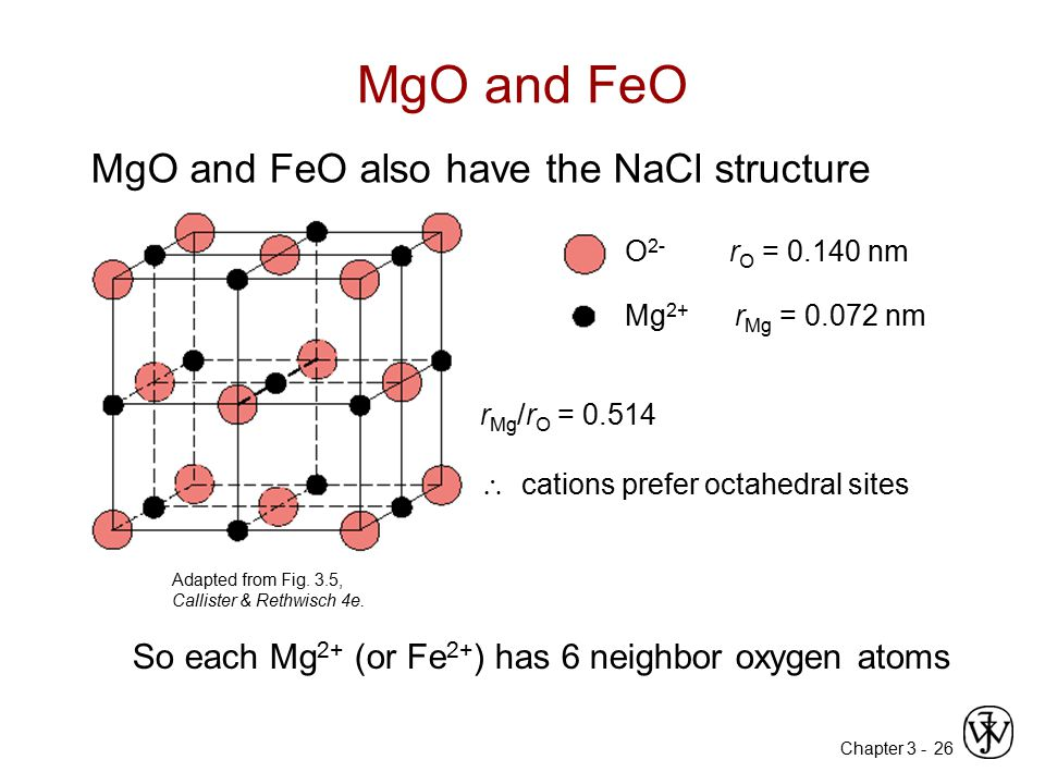 MgO and FeO MgO and FeO also have the NaCl structure