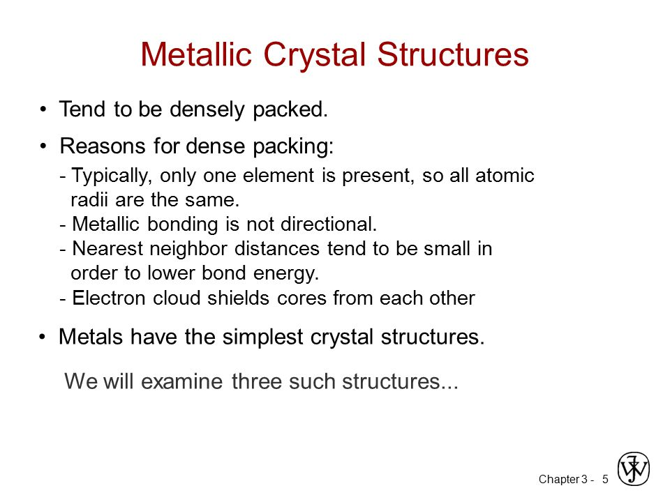 Metallic Crystal Structures
