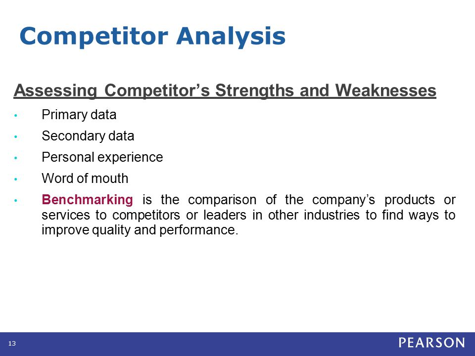 Competitor Analysis Estimating Competitor's Reactions