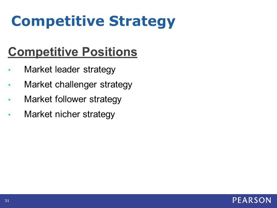 Competitive Strategy Competitive Positions