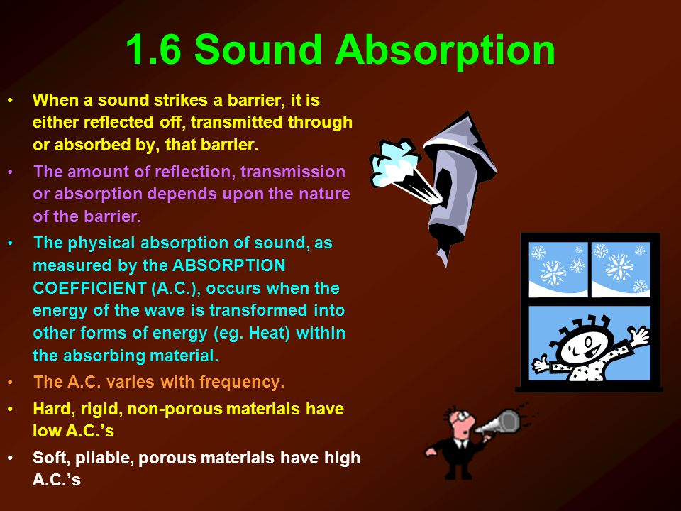 1.6 Sound Absorption When a sound strikes a barrier, it is either reflected off, transmitted through or absorbed by, that barrier.