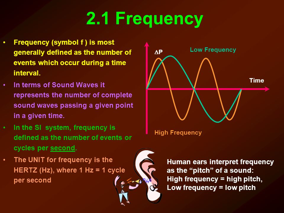 2.1 Frequency Frequency (symbol f ) is most generally defined as the number of events which occur during a time interval.