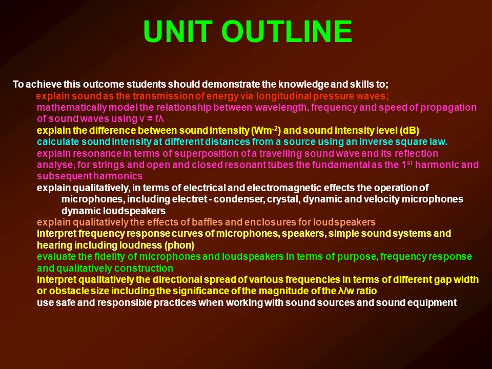 UNIT OUTLINE To achieve this outcome students should demonstrate the knowledge and skills to;