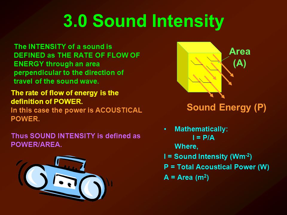 3.0 Sound Intensity Area (A) Sound Energy (P)