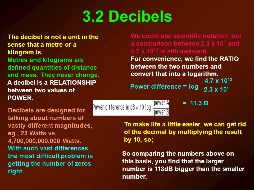 3.2 Decibels The decibel is not a unit in the sense that a metre or a kilogram is.