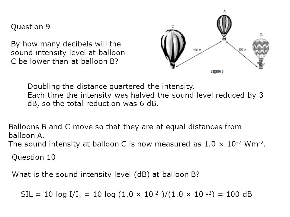 Question 9 By how many decibels will the sound intensity level at balloon C be lower than at balloon B