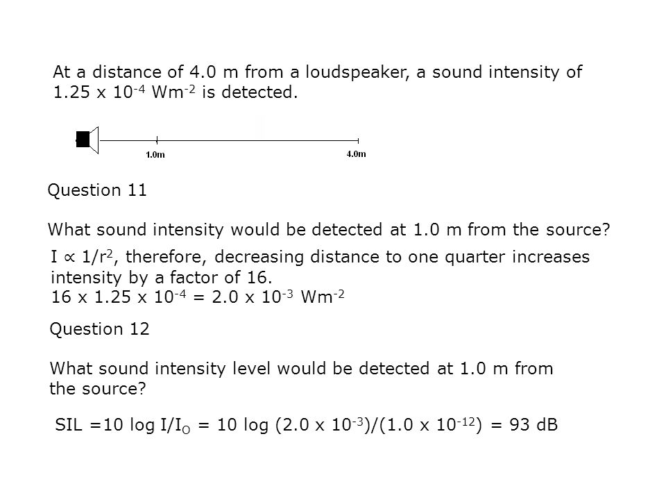 At a distance of 4. 0 m from a loudspeaker, a sound intensity of 1