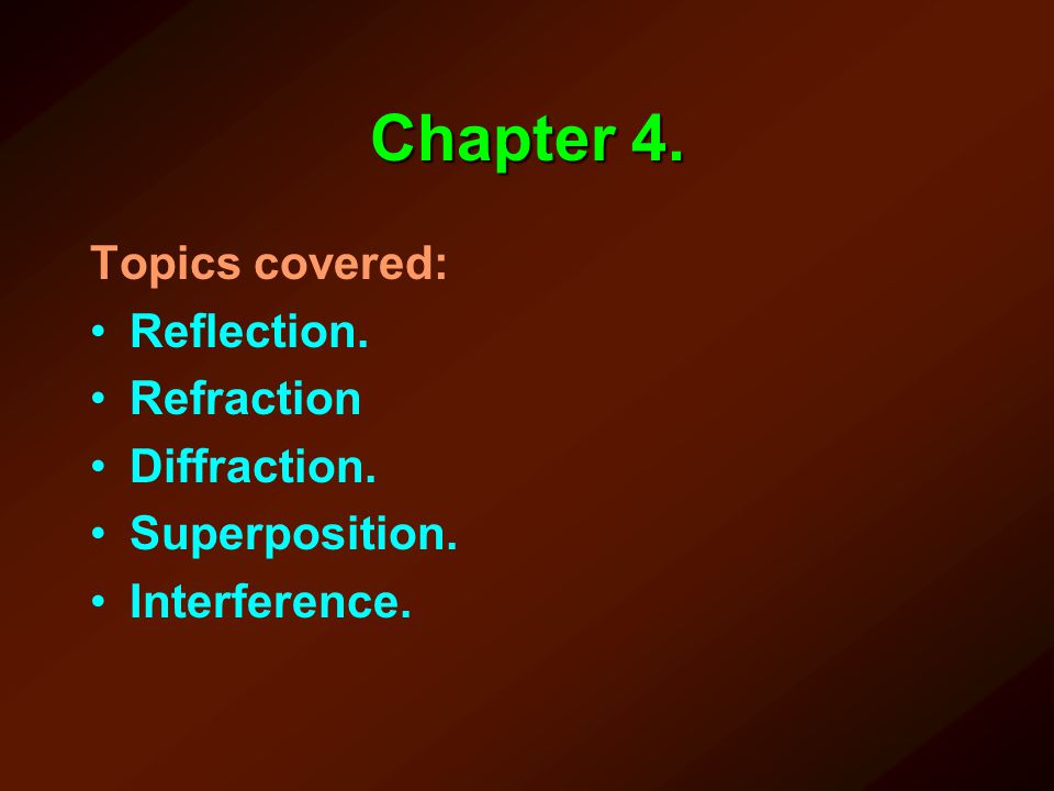 Chapter 4. Topics covered: Reflection. Refraction Diffraction.