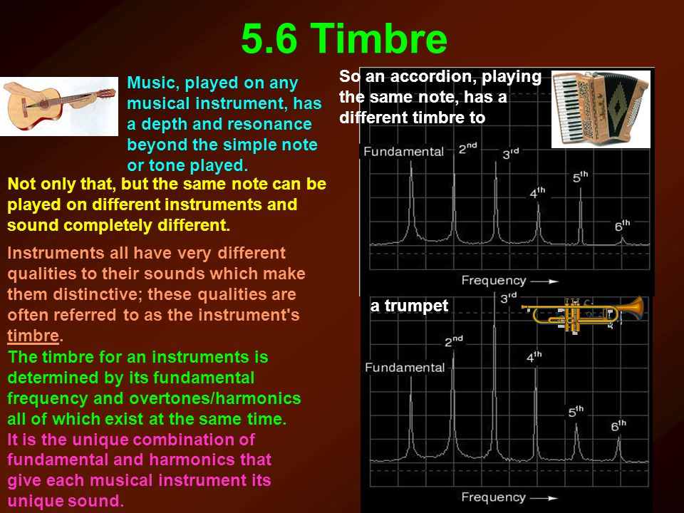5.6 Timbre So an accordion, playing the same note, has a different timbre to.