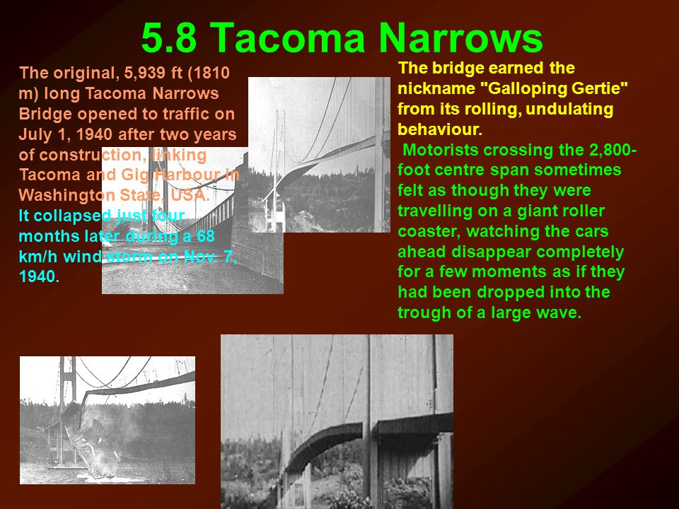 5.8 Tacoma Narrows The bridge earned the nickname Galloping Gertie from its rolling, undulating behaviour.