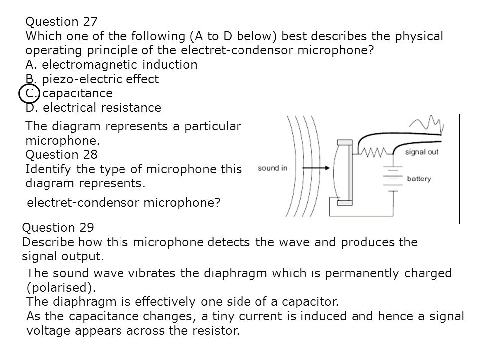 Question 27 Which one of the following (A to D below) best describes the physical operating principle of the electret-condensor microphone