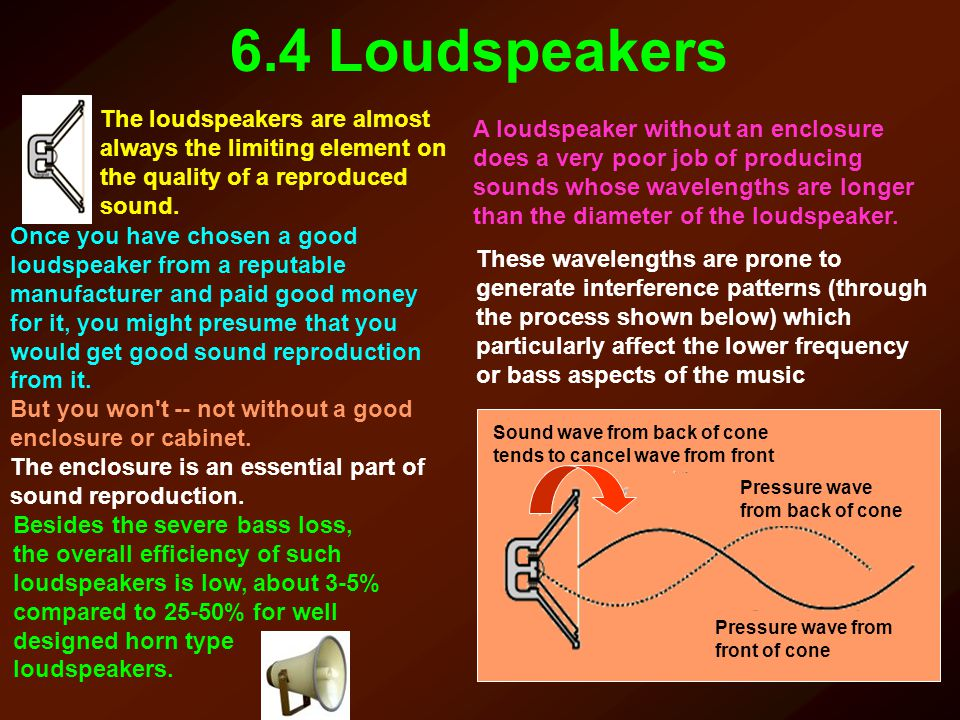 6.4 Loudspeakers The loudspeakers are almost always the limiting element on the quality of a reproduced sound.