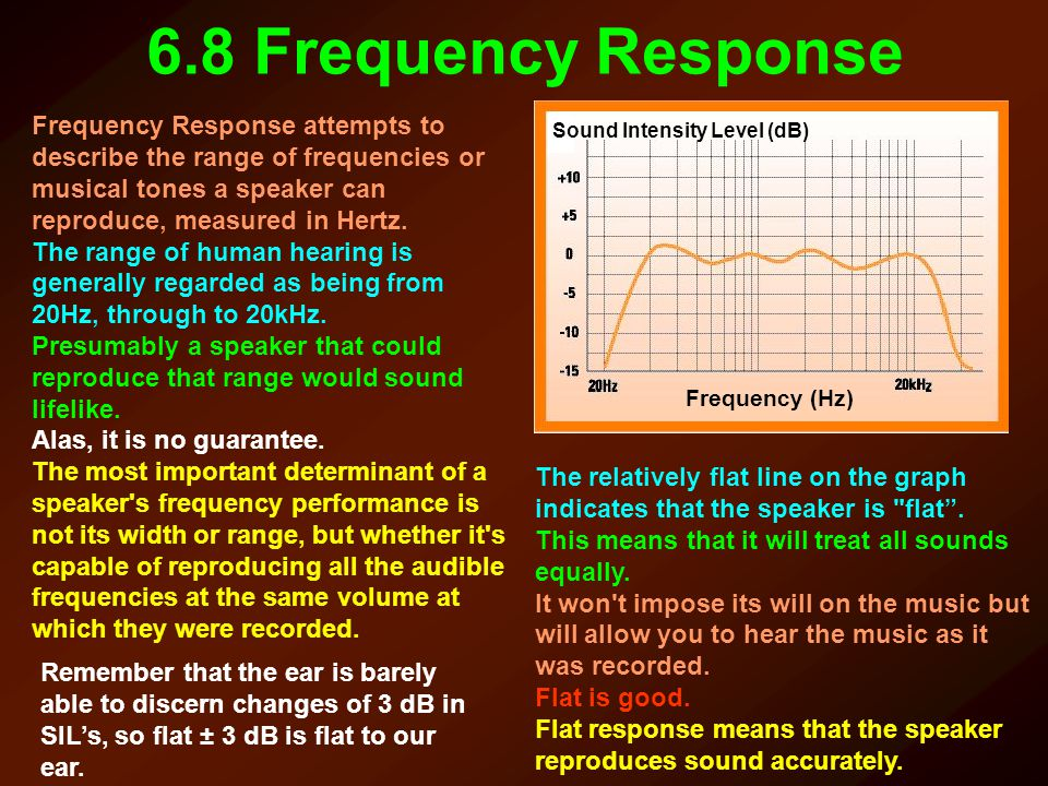 6.8 Frequency Response Frequency Response attempts to describe the range of frequencies or musical tones a speaker can reproduce, measured in Hertz.
