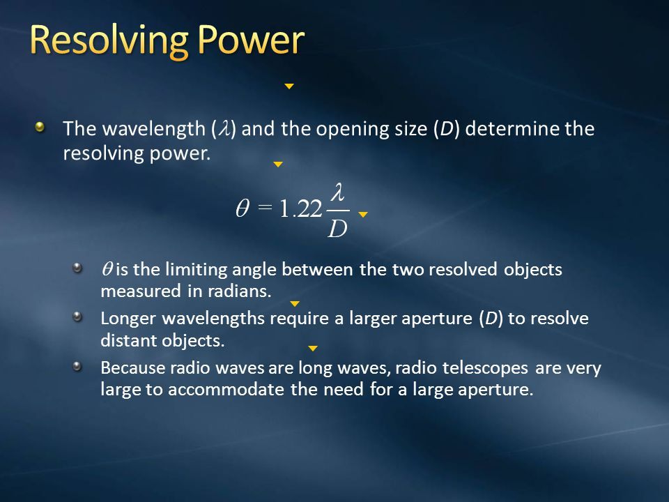 Resolving Power The wavelength () and the opening size (D) determine the resolving power.