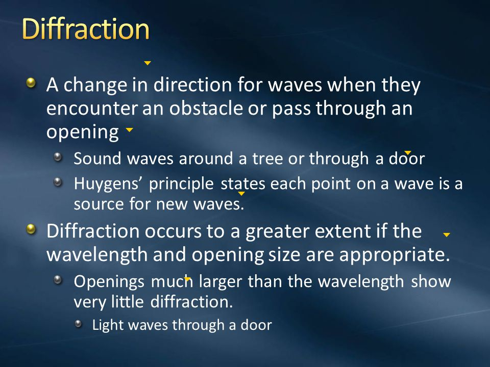 Diffraction A change in direction for waves when they encounter an obstacle or pass through an opening.