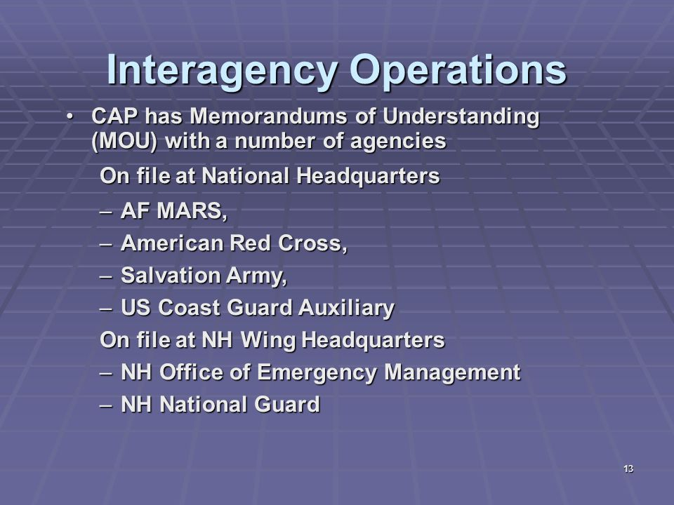 Interagency Operations