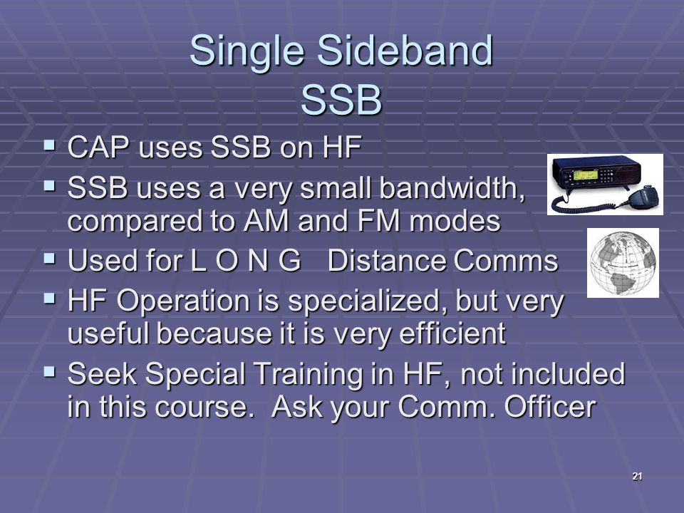 Single Sideband SSB CAP uses SSB on HF