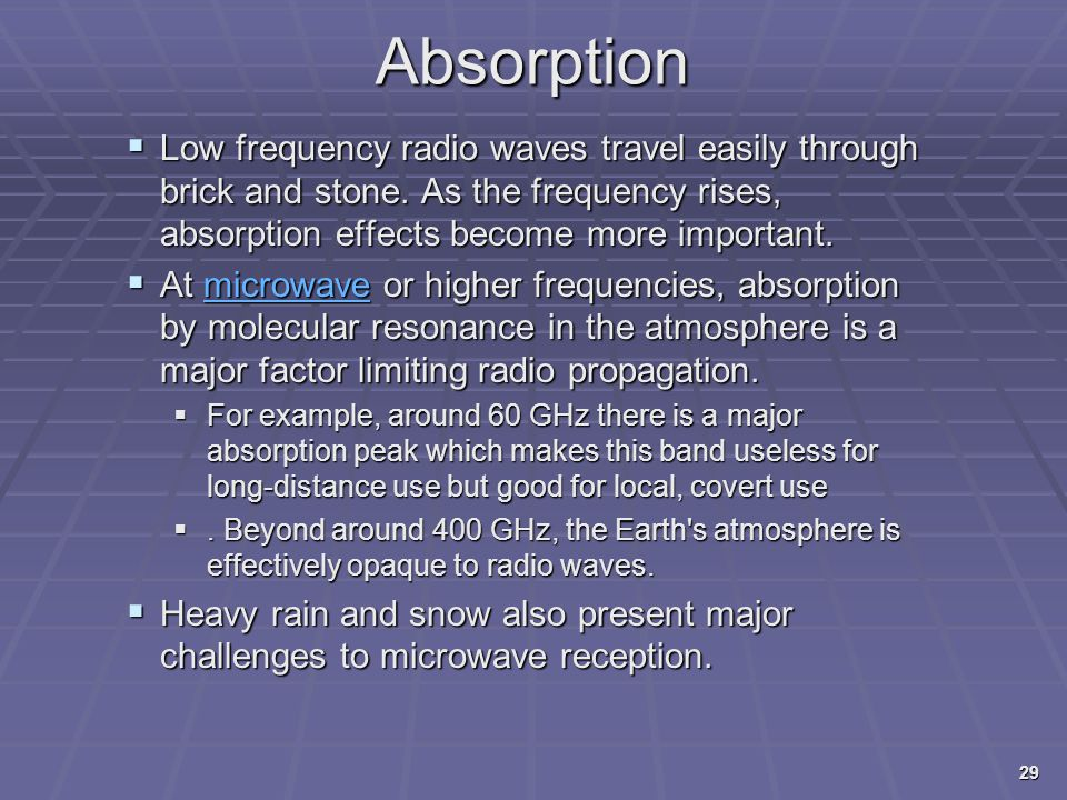 Absorption Low frequency radio waves travel easily through brick and stone. As the frequency rises, absorption effects become more important.