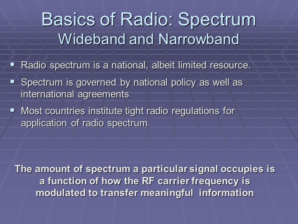 Basics of Radio: Spectrum Wideband and Narrowband